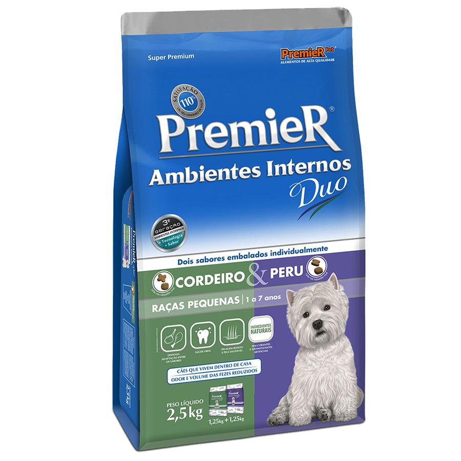 Ração Premier Ambientes Internos Duo para Cães Adultos Raças Pequenas Sabor Cordeiro e Peru - 2,5 Kg