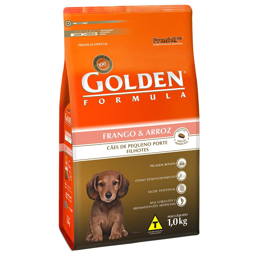 Ração Golden Fórmula Para Cães Filhotes de Pequeno Porte Sabor Frango e Arroz - 1,0 Kg