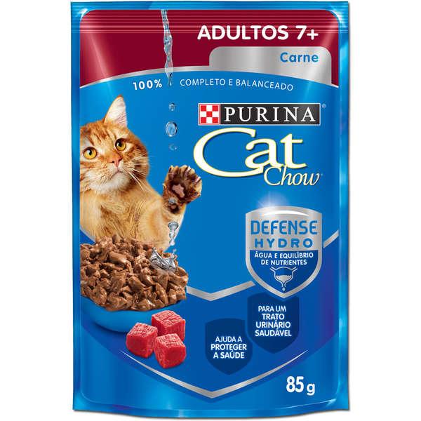 Ração Úmida Purina Cat Chow Sachê para Gatos Adultos Acima de 7 Anos Sabor Carne
