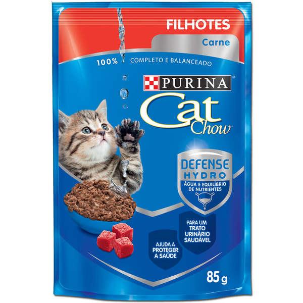 Ração Úmida Purina Cat Chow Sachê para Gatos Filhotes Sabor Carne