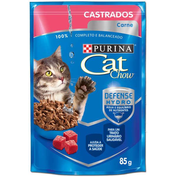 Ração Úmida Purina Cat Chow Sachê para Gatos Castrados Sabor Carne