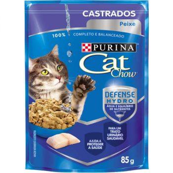 Ração Úmida Purina Cat Chow Sachê para Gatos Castrados Sabor Peixe