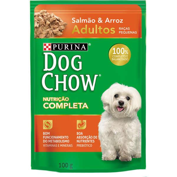 Ração Úmida Purina Dog Chow Sachê para Cães Adultos de Pequeno Porte Sabor Salmão e Arroz