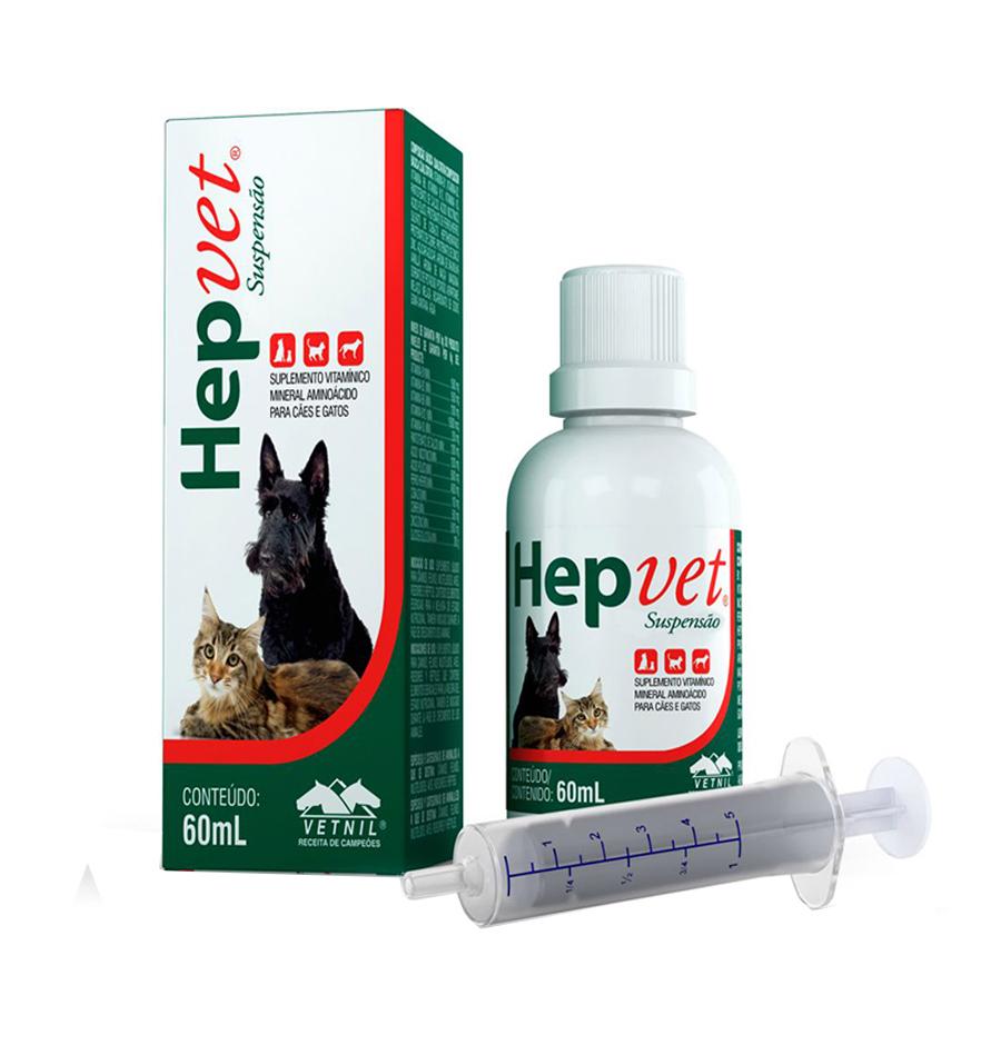 Suplemento Vitamínico Mineral Aminoácido Hepvet Suspensão 60 ml Vetnil