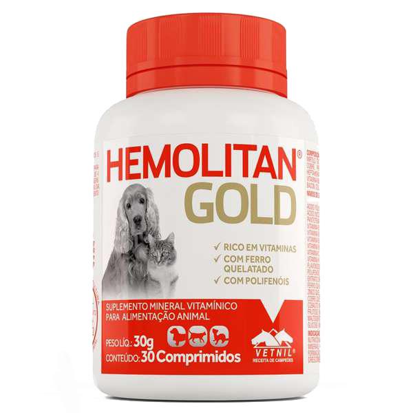 Suplemento Mineral Vitamínico Hemolitan Gold 30 g/30 comprimidos Vetnil