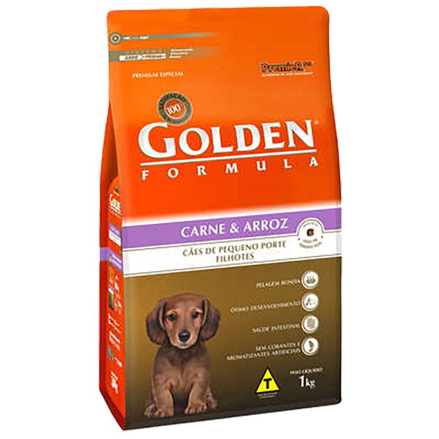Ração Golden Fórmula Para Cães Filhotes de Pequeno Porte Sabor Carne e Arroz - 1,0 Kg
