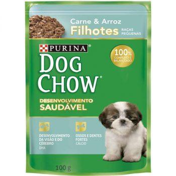 Ração Úmida Purina Dog Chow Sachê para Cães Filhotes de Pequeno Porte Sabor Carne e Arroz