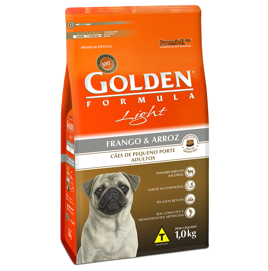 Ração Golden Fórmula Light para Cães Adultos de Pequeno Porte Sabor Frango e Arroz - 1,0 Kg