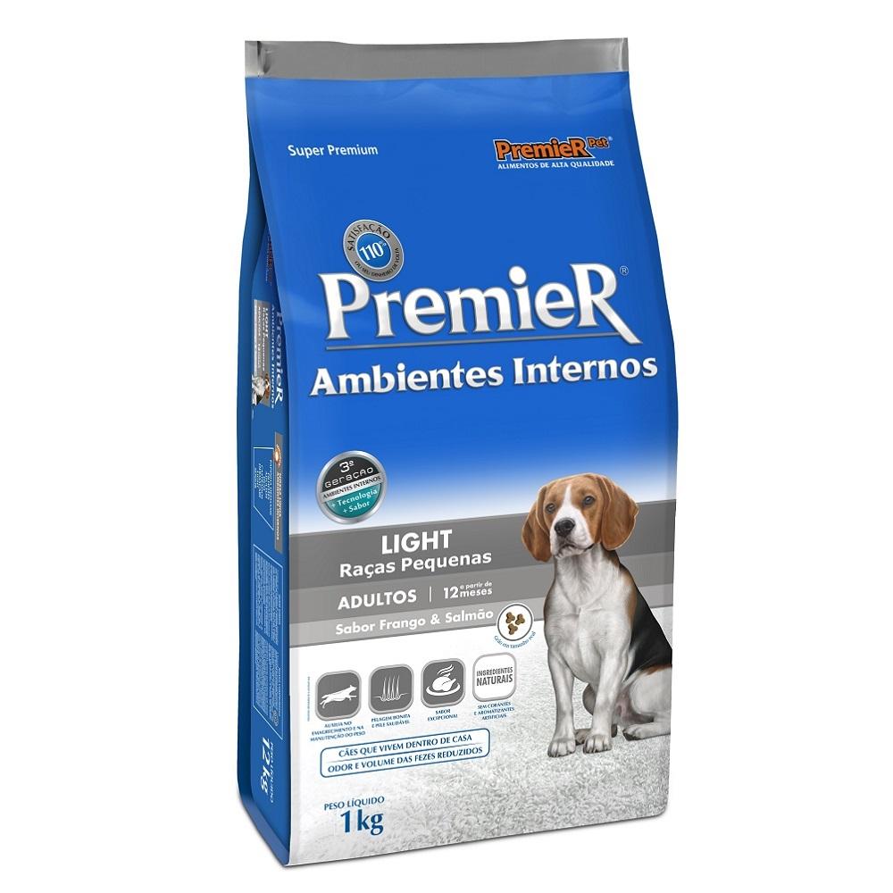 Ração Premier Ambientes Internos Light para Cães Adultos Sabor Frango e Salmão - 1,0 Kg