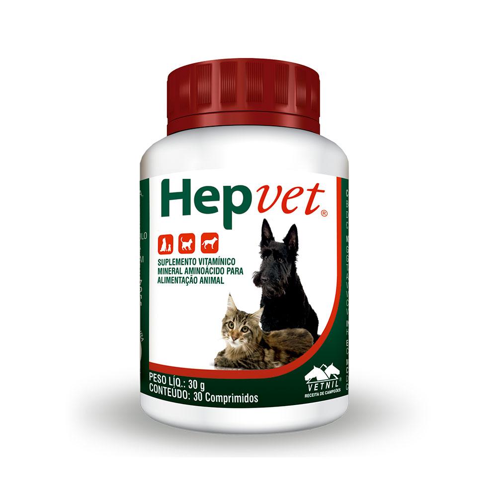 Suplemento Vitamínico Mineral Aminoácido Hepvet 30 comprimidos Vetnil