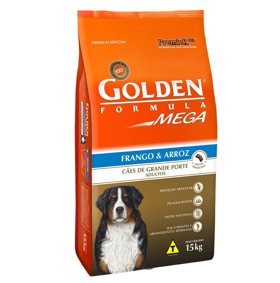 Ração Golden Mega para Cães Adultos de Raças Grandes Sabor Frango e Arroz - 15kg