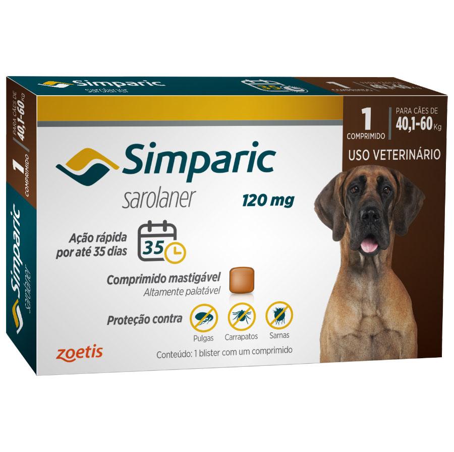 Antipulgas e Carrapatos Simparic 120 mg/40,1 a 60 Kg com 1 comprimido - Zoetis