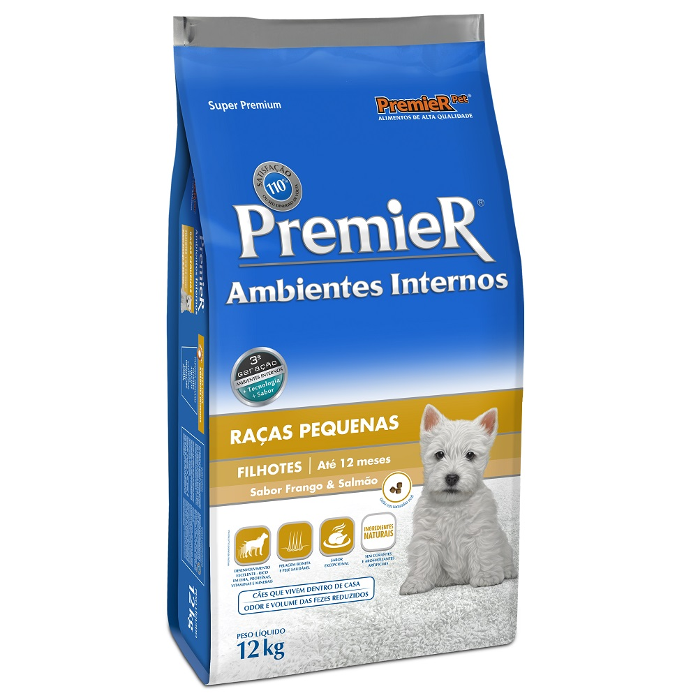Ração Premier Ambientes Internos para Cães Filhotes Raças Pequenas Sabor Frango e Salmão - 12 Kg