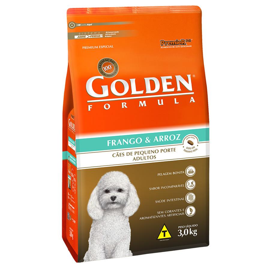 Ração Golden Fórmula Para Cães Adultos de Pequeno Porte Sabor Frango e Arroz - 3,0 Kg
