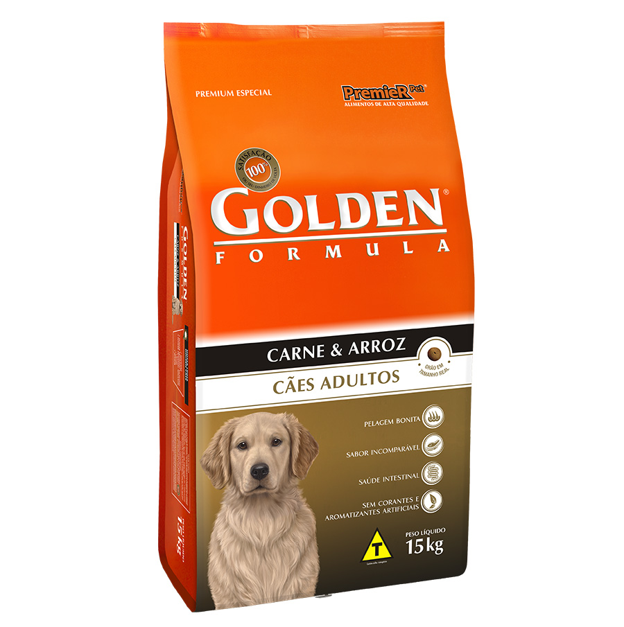 Ração Golden Fórmula para Cães Adultos Sabor Carne e Arroz - 15 Kg