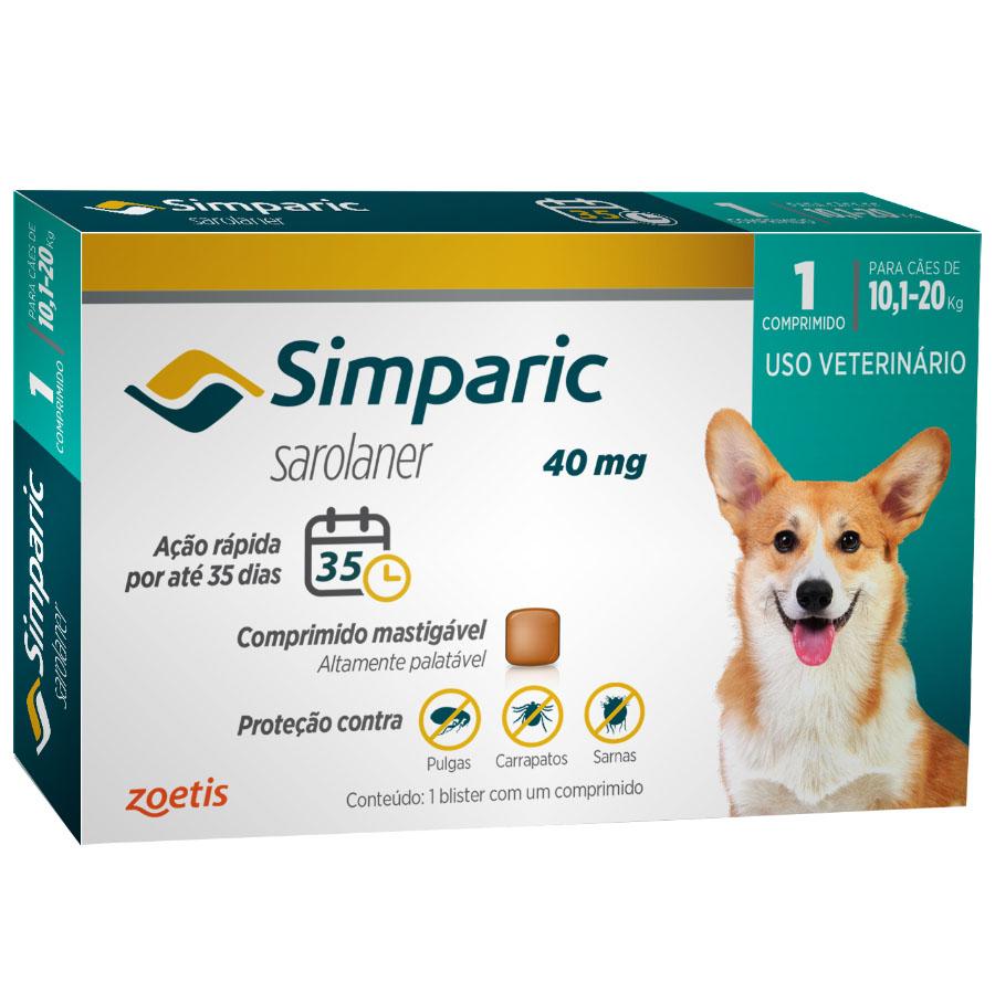 Antipulgas e Carrapatos Simparic 40 mg/10,1 a 20 Kg com 1 comprimido - Zoetis