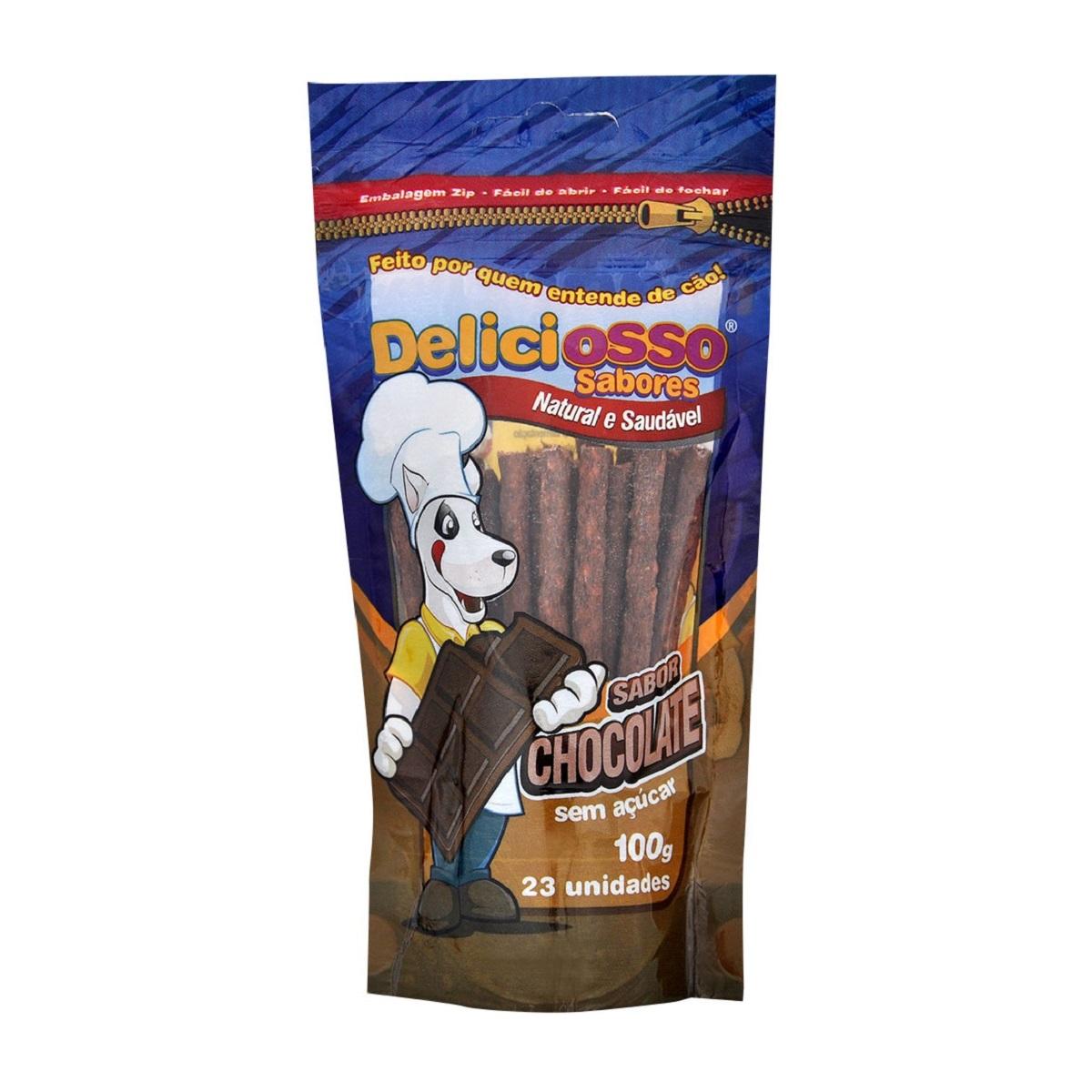 Osso Deliciosso Palito Fino Sabor Chocolate Para Cães