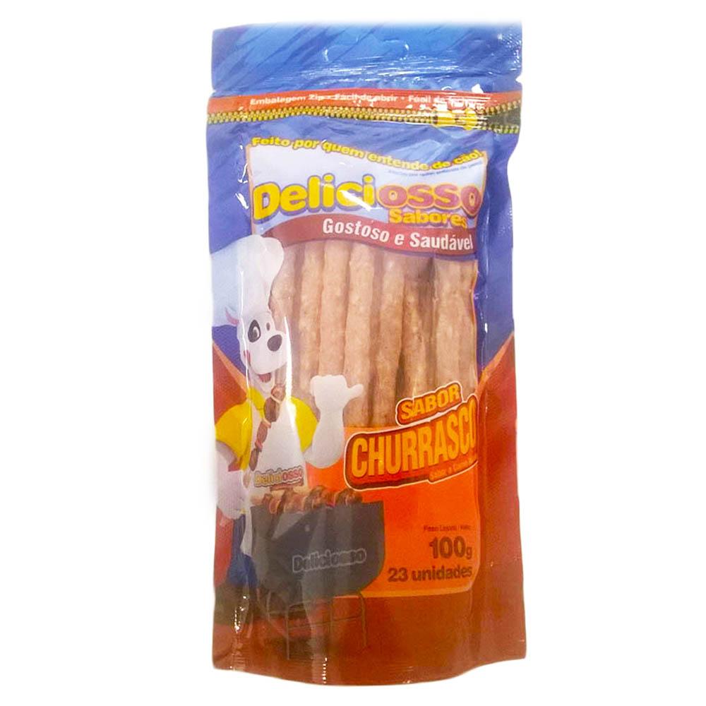 Osso Deliciosso Palito Fino Sabor Churrasco Para Cães