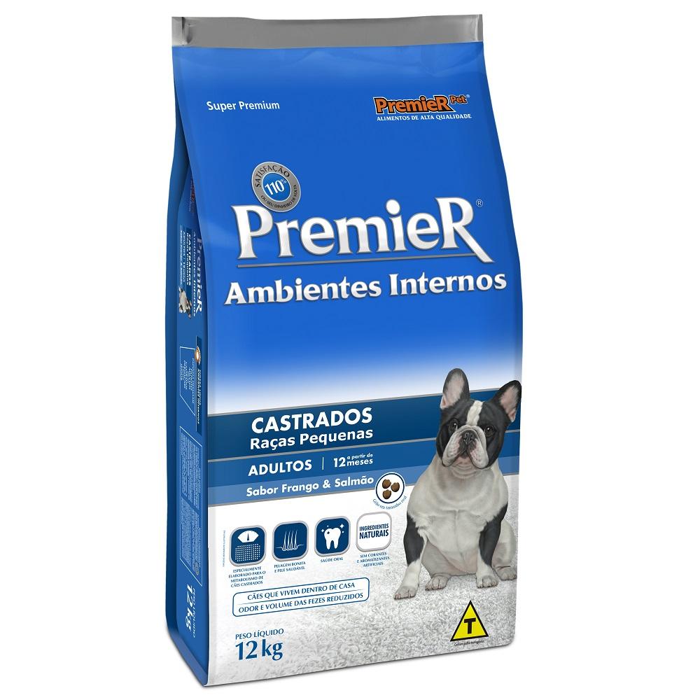 Ração Premier Ambientes Internos Castrados para Cães Adultos Sabor Frango e Salmão - 12 Kg