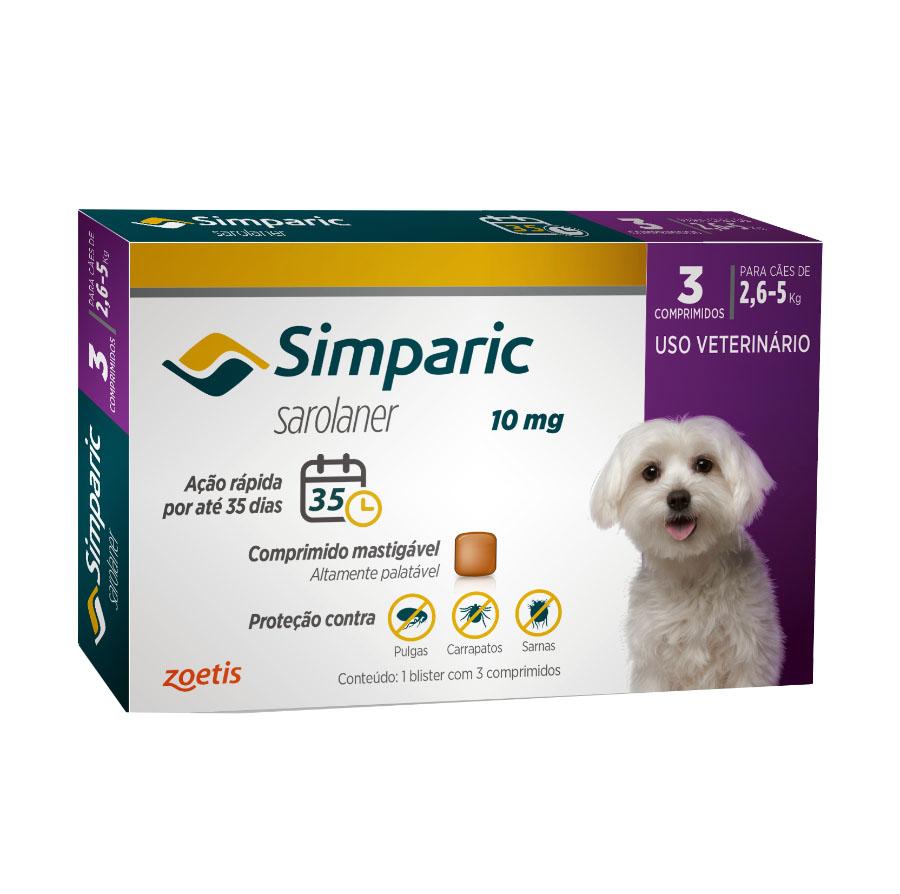 Antipulgas e Carrapatos Simparic 10 mg/2,6 a 5 Kg com 3 comprimidos - Zoetis