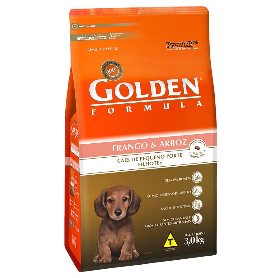 Ração Golden Fórmula Para Cães Filhotes de Pequeno Porte Sabor Frango e Arroz - 3,0 Kg