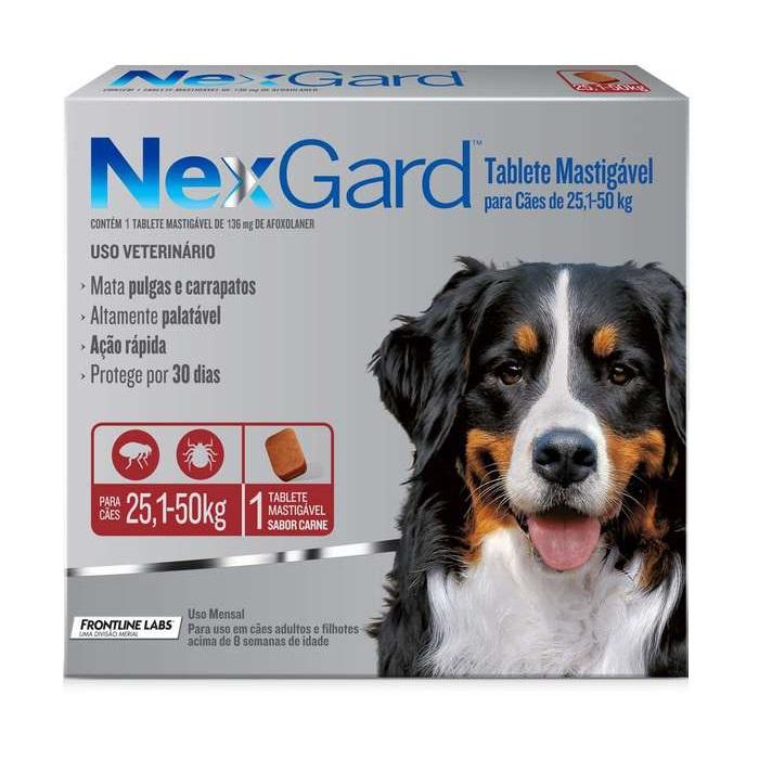 Antipulgas e Carrapatos Merial Nexgard para Cães de 25,1 a 50 Kg