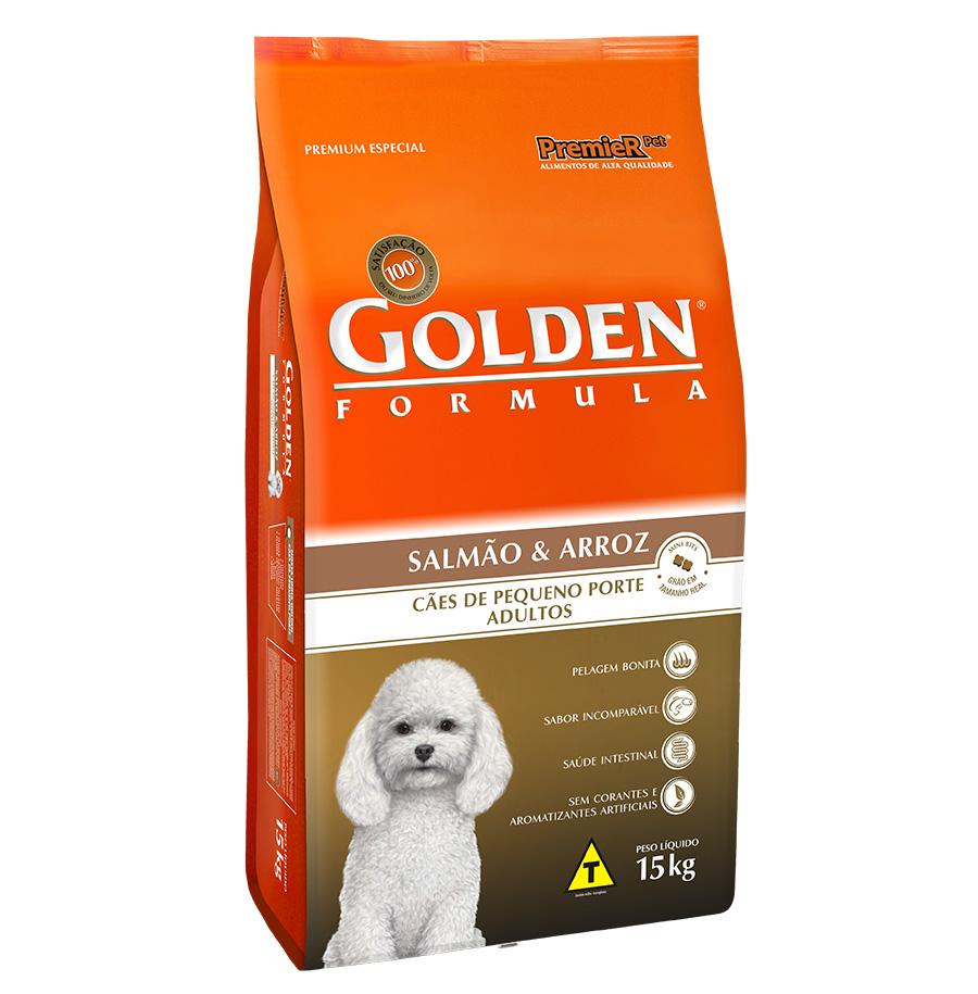 Ração Golden Fórmula Para Cães Adultos de Pequeno Porte Sabor Salmão e Arroz - 15 Kg