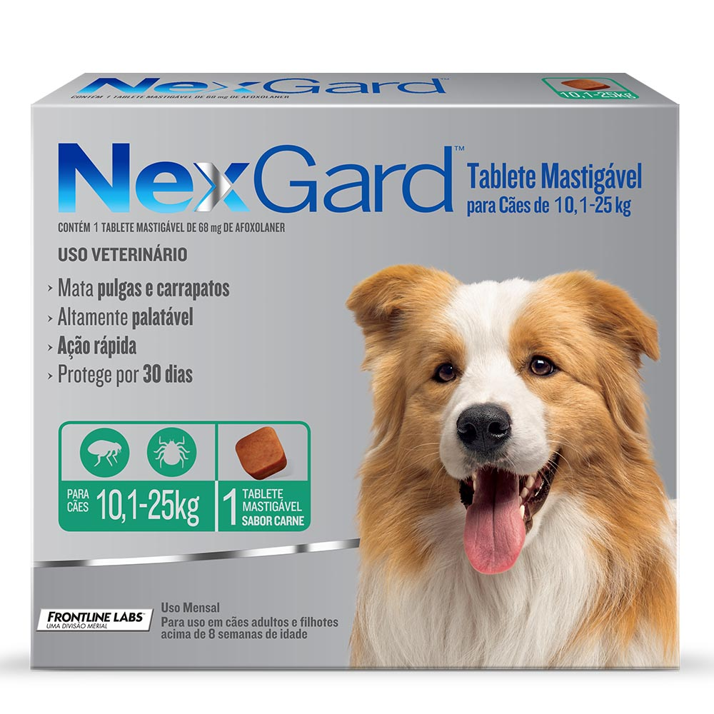 Antipulgas e Carrapatos Merial Nexgard para Cães de 10,1 a 25 Kg