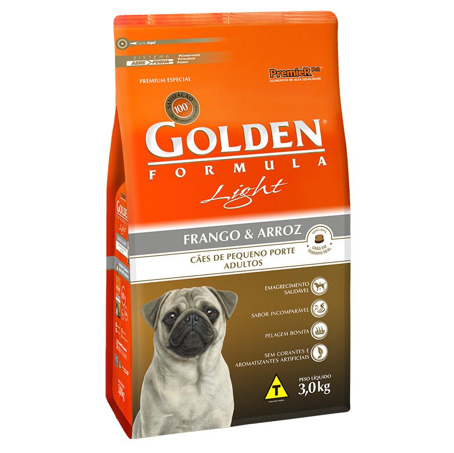 Ração Golden Fórmula Light para Cães Adultos de Pequeno Porte Sabor Frango e Arroz - 3,0 Kg