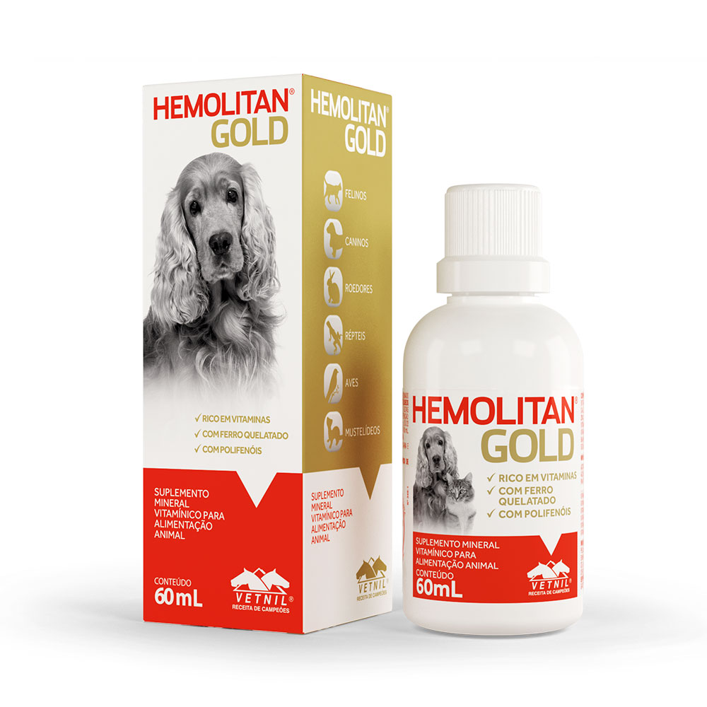 Suplemento Mineral Vitamínico Hemolitan Gold 60 ml Vetnil