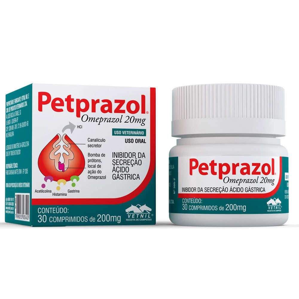 Inibidor de Secreção Ácido-Gástrica Petprazol 20 mg - Vetnil