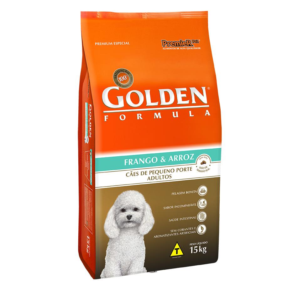 Ração Golden Fórmula Para Cães Adultos de Pequeno Porte Sabor Frango e Arroz - 15 Kg