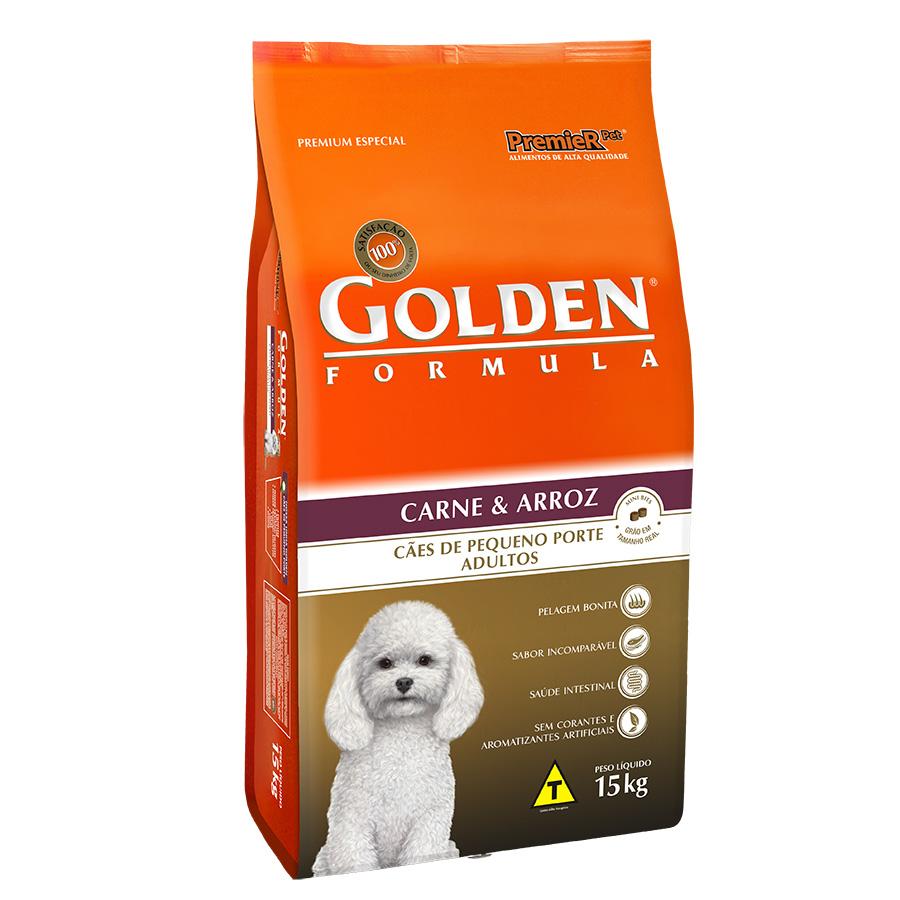 Ração Golden Fórmula Para Cães Adultos de Pequeno Porte Sabor Carne e Arroz - 15,0 Kg