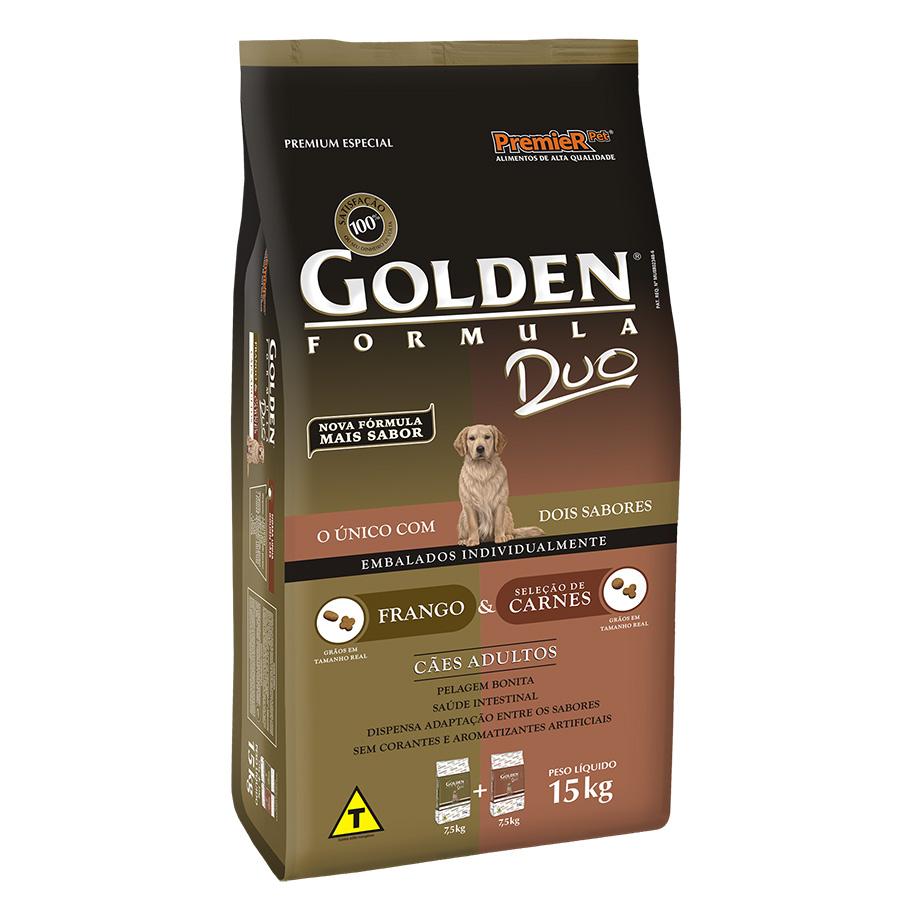Ração Golden Duo para Cães Adultos Sabor Frango e Carne - 15 kg