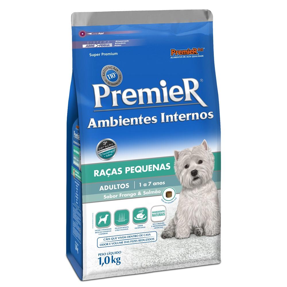 Ração Premier Ambientes Internos para Cães Adultos Raças Pequenas Sabor Frango e Salmão - 1 Kg