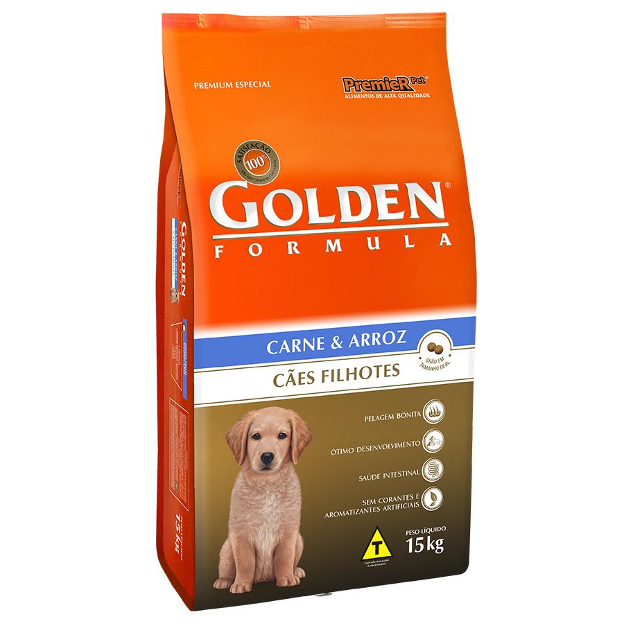 Ração Golden Filhote para Cães Sabor Carne e Arroz - 15 Kg