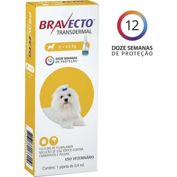 Antipulgas e Carrapatos MSD Bravecto Transdermal para Cães de 2 á 4,5 Kg