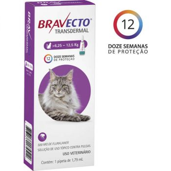 Antipulgas e Carrapatos MSD Bravecto Transdermal para Gatos de 6,25 a 12,5 Kg