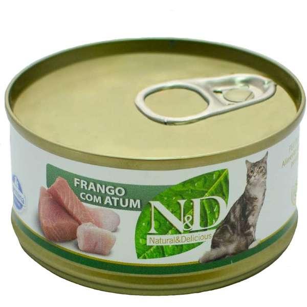 Ração Farmina N&D Úmida Lata Para Gatos Sabor Frango com Atum - 70g