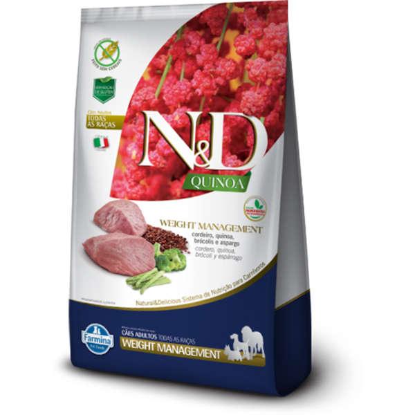 Ração Farmina N&D Quinoa Weight Management para Cães Adultos de Todas as Raças Sabor Cordeiro 800 g