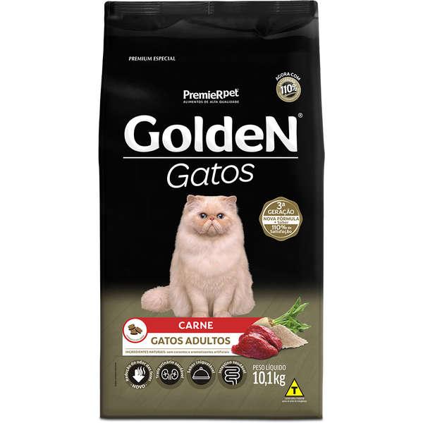 Ração Golden Gatos Adultos Sabor Carne 10Kg