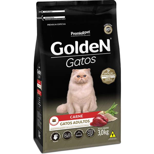 Ração Golden Gatos Adultos Sabor Carne 3Kg