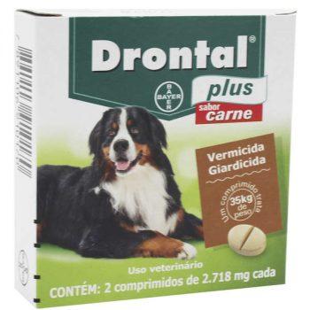 Drontal Plus Para Cães Até 35Kg Sabor Carne 2 c/ 2 Comprimidos - Bayer