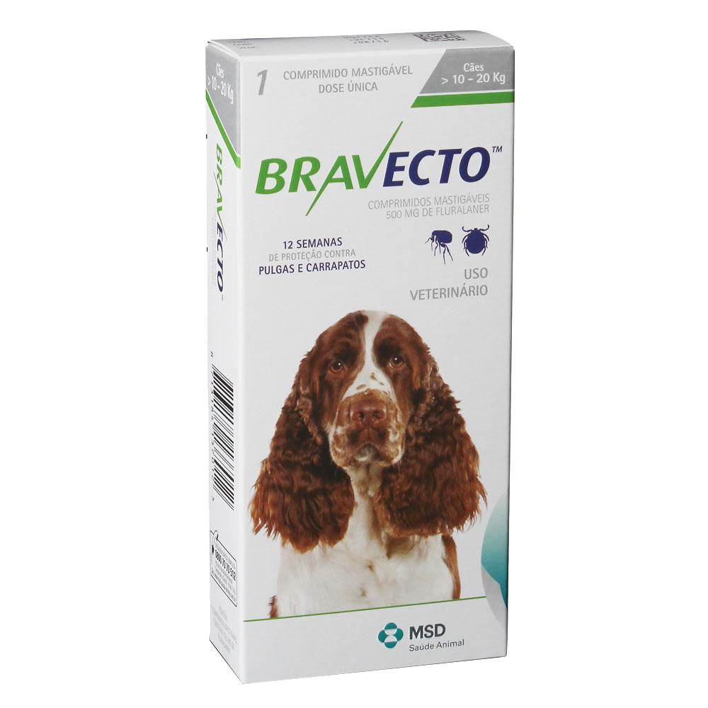 Antipulgas e Carrapatos Bravecto MSD para Cães de 10 á 20 kg