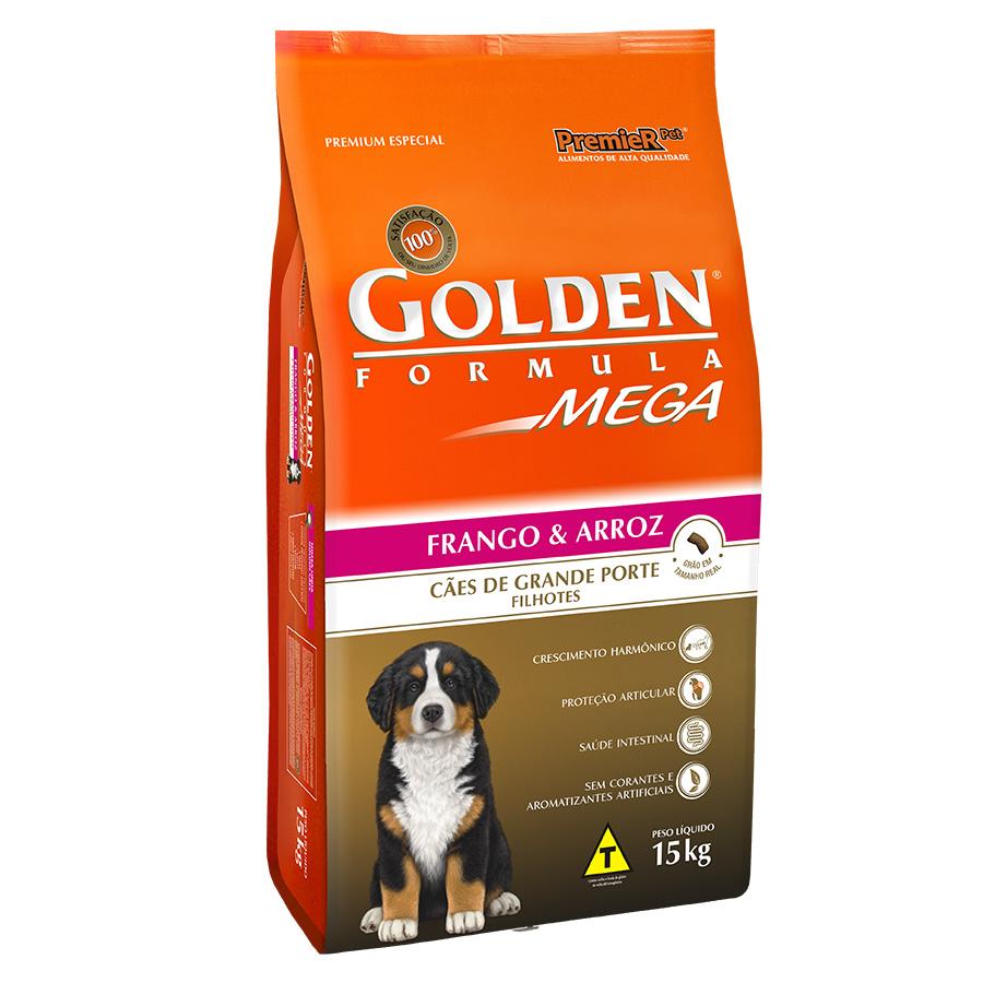 Ração Golden Mega para Cães Filhotes de Raças Grandes Sabor Frango e Arroz - 15kg