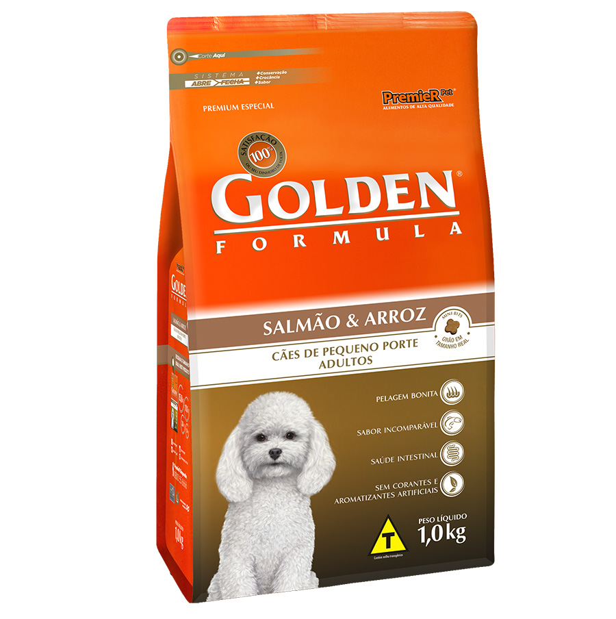 Ração Golden Fórmula Para Cães Adultos de Pequeno Porte Sabor Salmão e Arroz - 1,0 Kg