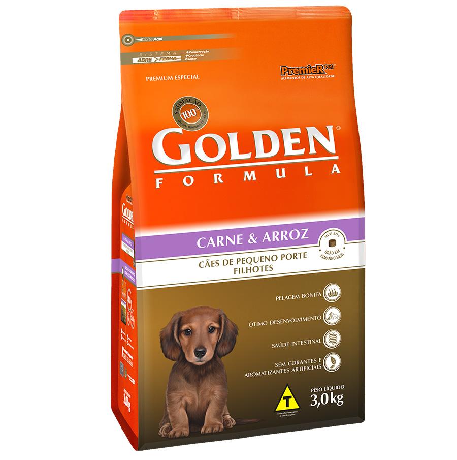 Ração Golden Fórmula Para Cães Filhotes de Pequeno Porte Sabor Carne e Arroz - 3,0 Kg