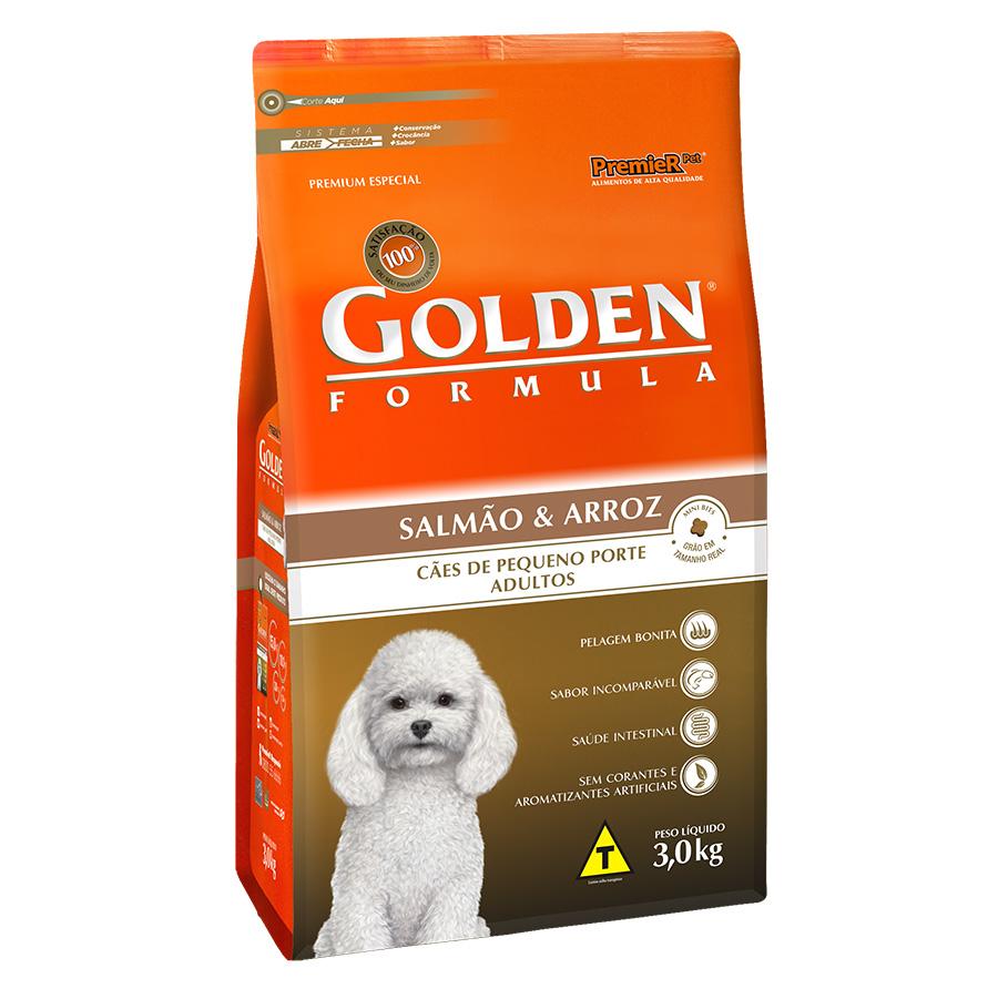 Ração Golden Fórmula Para Cães Adultos de Pequeno Porte Sabor Salmão e Arroz - 3,0 Kg