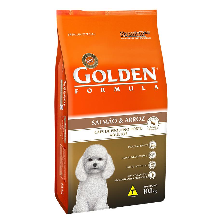 Ração Golden Fórmula Para Cães Adultos de Pequeno Porte Sabor Salmão e Arroz - 10,0 Kg