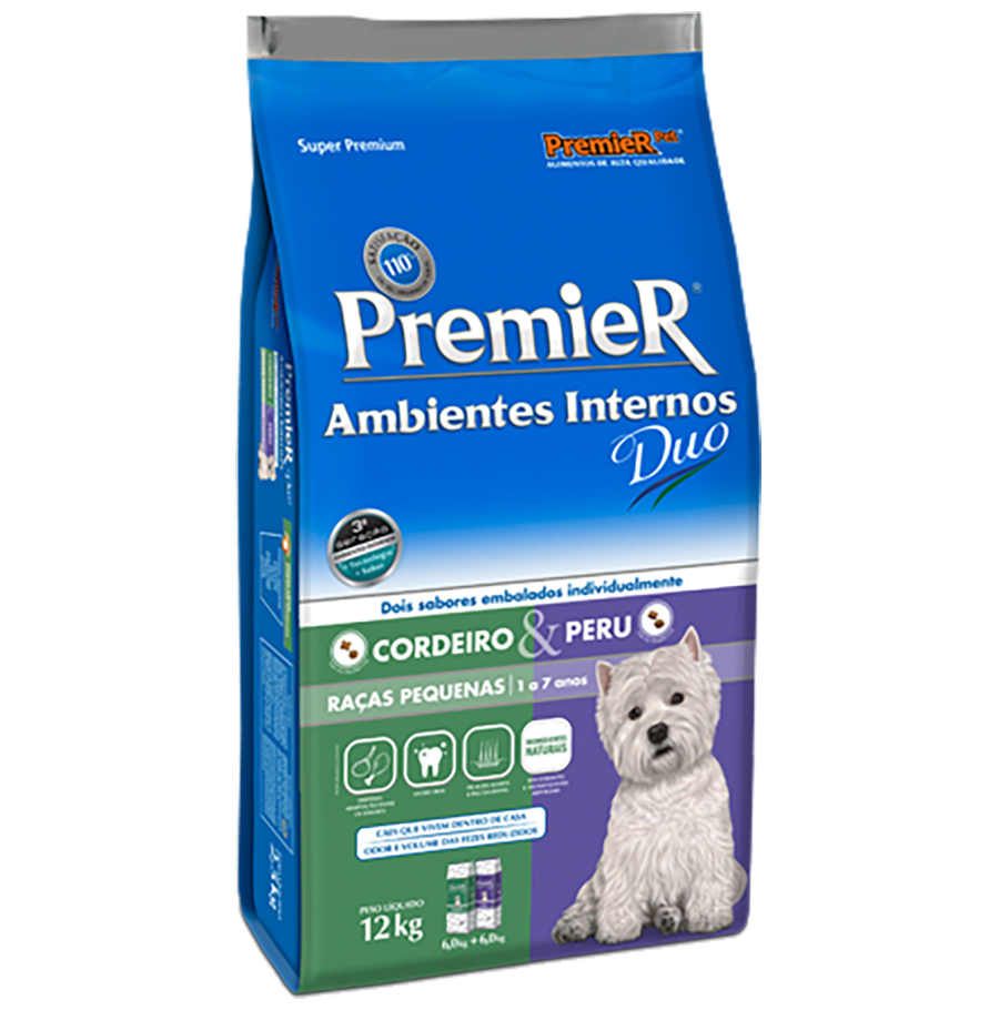 Ração Premier Ambientes Internos Duo para Cães Adultos Raças Pequenas Sabor Cordeiro e Peru - 12 Kg